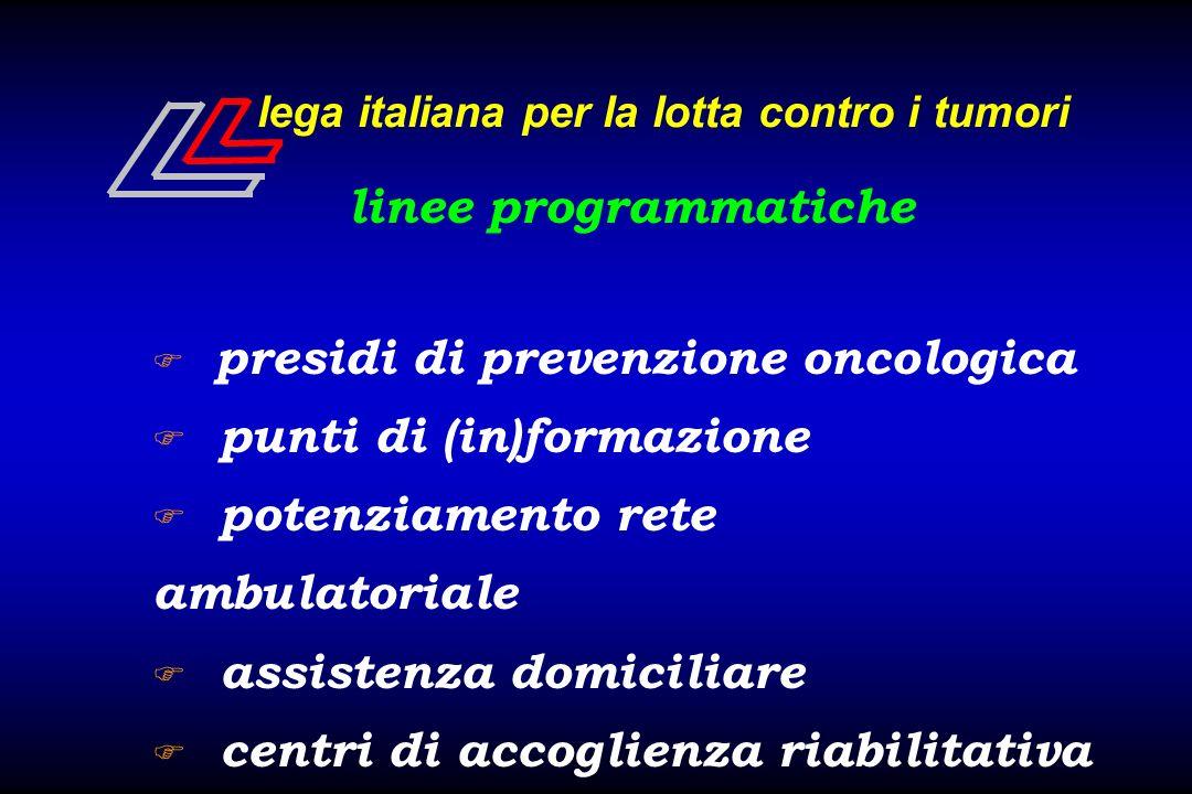 lega italiana per la lotta contro i tumori linee programmatiche F presidi di prevenzione oncologica F punti di (in)formazione F potenziamento rete amb