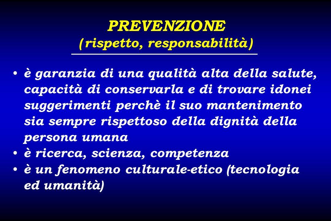 PREVENZIONE ( rispetto, responsabilità ) è garanzia di una qualità alta della salute, capacità di conservarla e di trovare idonei suggerimenti perchè