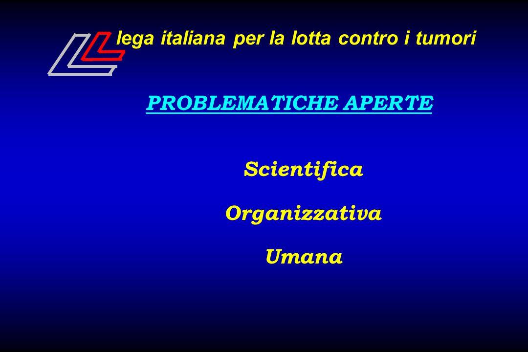 lega italiana per la lotta contro i tumori PROBLEMATICHE APERTE Scientifica Organizzativa Umana