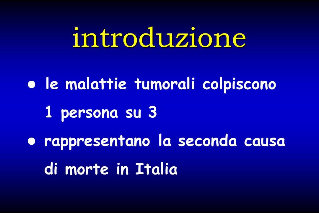 introduzione le malattie tumorali colpiscono 1 persona su 3 rappresentano la seconda causa di morte in Italia