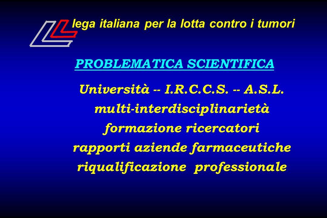 lega italiana per la lotta contro i tumori PROBLEMATICA SCIENTIFICA Università -- I.R.C.C.S. -- A.S.L. multi-interdisciplinarietà formazione ricercato