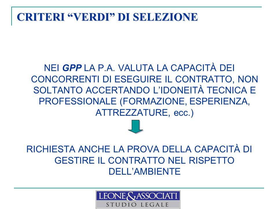 CRITERI VERDI DI SELEZIONE NEI GPP LA P.A.