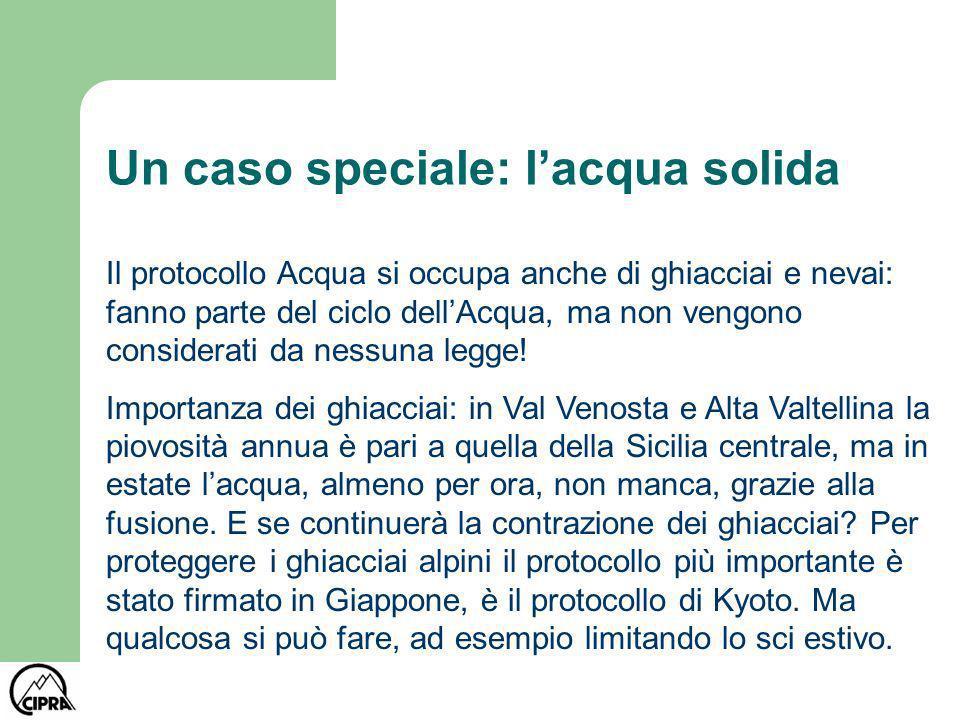 Un caso speciale: lacqua solida Il protocollo Acqua si occupa anche di ghiacciai e nevai: fanno parte del ciclo dellAcqua, ma non vengono considerati da nessuna legge.