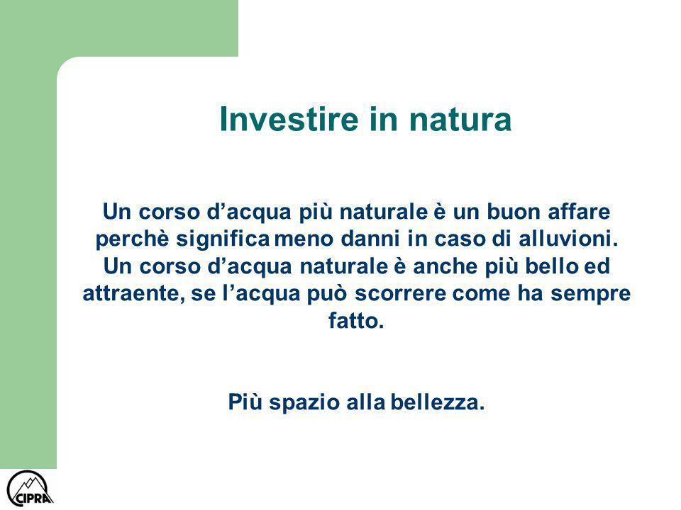 Investire in natura Un corso dacqua più naturale è un buon affare perchè significa meno danni in caso di alluvioni. Un corso dacqua naturale è anche p