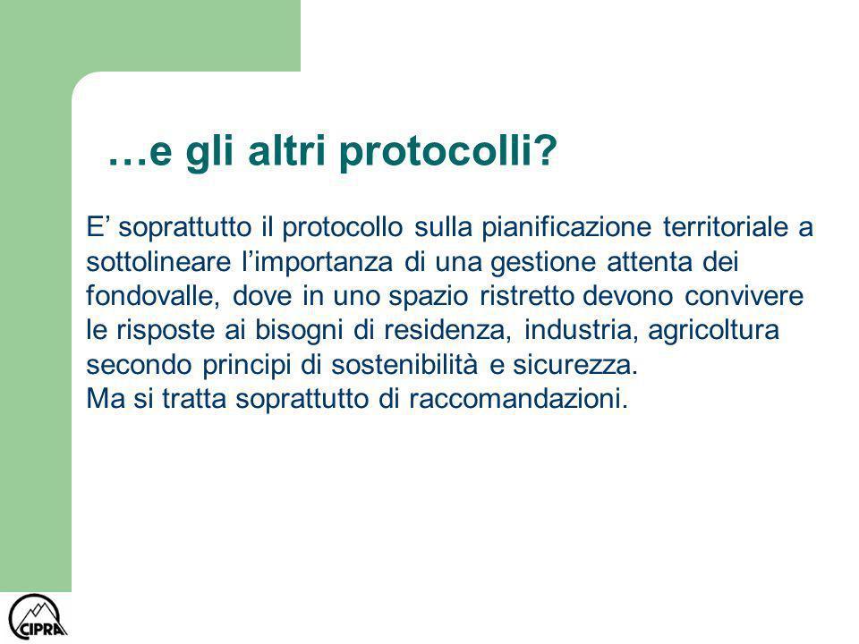 …e gli altri protocolli? E soprattutto il protocollo sulla pianificazione territoriale a sottolineare limportanza di una gestione attenta dei fondoval