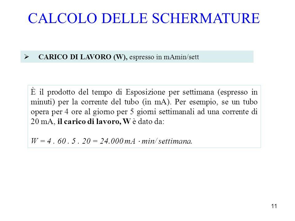 11 CARICO DI LAVORO (W), espresso in mAmin/sett CALCOLO DELLE SCHERMATURE È il prodotto del tempo di Esposizione per settimana (espresso in minuti) pe