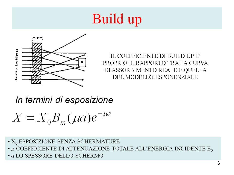 Build up 6 IL COEFFICIENTE DI BUILD UP E PROPRIO IL RAPPORTO TRA LA CURVA DI ASSORBIMENTO REALE E QUELLA DEL MODELLO ESPONENZIALE In termini di esposi
