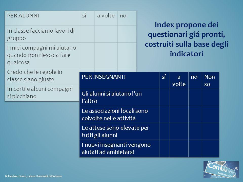 Index propone dei questionari giá pronti, costruiti sulla base degli indicatori © Heidrun Demo, Libera Università di Bolzano