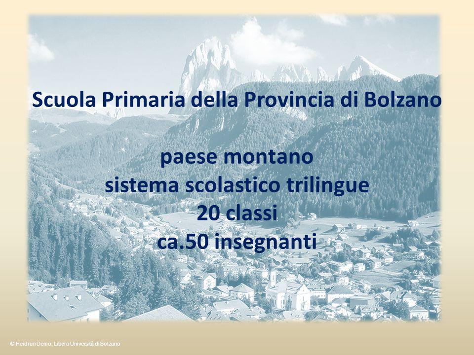 Scuola Primaria della Provincia di Bolzano paese montano sistema scolastico trilingue 20 classi ca.50 insegnanti © Heidrun Demo, Libera Università di Bolzano