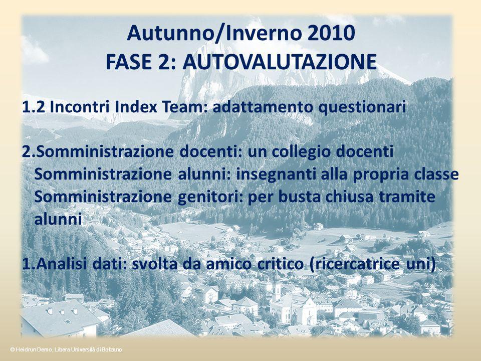 Autunno/Inverno 2010 FASE 2: AUTOVALUTAZIONE 1.2 Incontri Index Team: adattamento questionari 2.Somministrazione docenti: un collegio docenti Somminis
