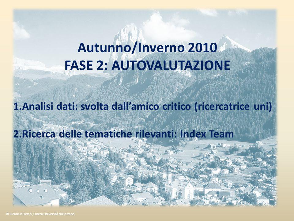 Autunno/Inverno 2010 FASE 2: AUTOVALUTAZIONE 1.Analisi dati: svolta dallamico critico (ricercatrice uni) 2.Ricerca delle tematiche rilevanti: Index Te