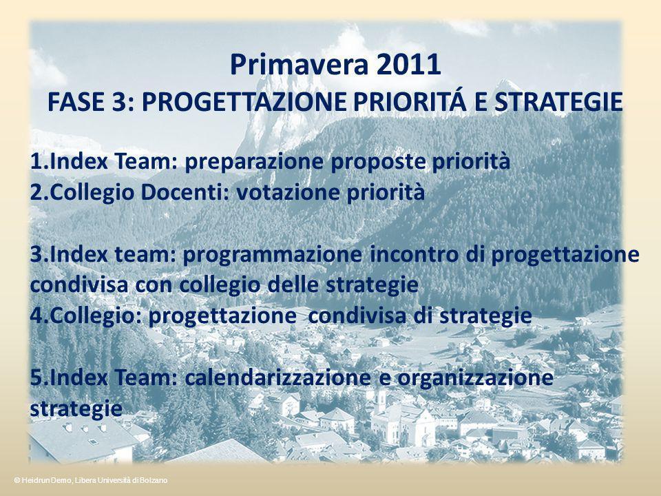 Primavera 2011 FASE 3: PROGETTAZIONE PRIORITÁ E STRATEGIE 1.Index Team: preparazione proposte priorità 2.Collegio Docenti: votazione priorità 3.Index team: programmazione incontro di progettazione condivisa con collegio delle strategie 4.Collegio: progettazione condivisa di strategie 5.Index Team: calendarizzazione e organizzazione strategie © Heidrun Demo, Libera Università di Bolzano