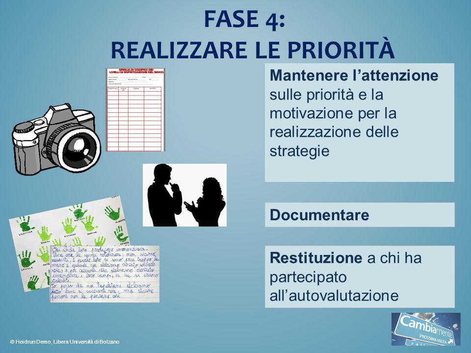 FASE 4: REALIZZARE LE PRIORITÀ Mantenere lattenzione sulle priorità e la motivazione per la realizzazione delle strategie Documentare Restituzione a c