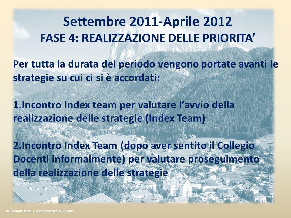Settembre 2011-Aprile 2012 FASE 4: REALIZZAZIONE DELLE PRIORITA Per tutta la durata del periodo vengono portate avanti le strategie su cui ci si è accordati: 1.Incontro Index team per valutare lavvio della realizzazione delle strategie (Index Team) 2.Incontro Index Team (dopo aver sentito il Collegio Docenti informalmente) per valutare proseguimento della realizzazione delle strategie © Heidrun Demo, Libera Università di Bolzano