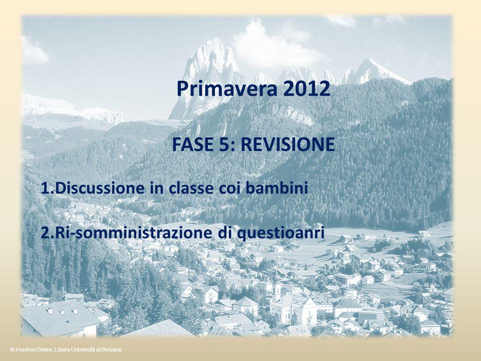 Primavera 2012 FASE 5: REVISIONE 1.Discussione in classe coi bambini 2.Ri-somministrazione di questioanri © Heidrun Demo, Libera Università di Bolzano