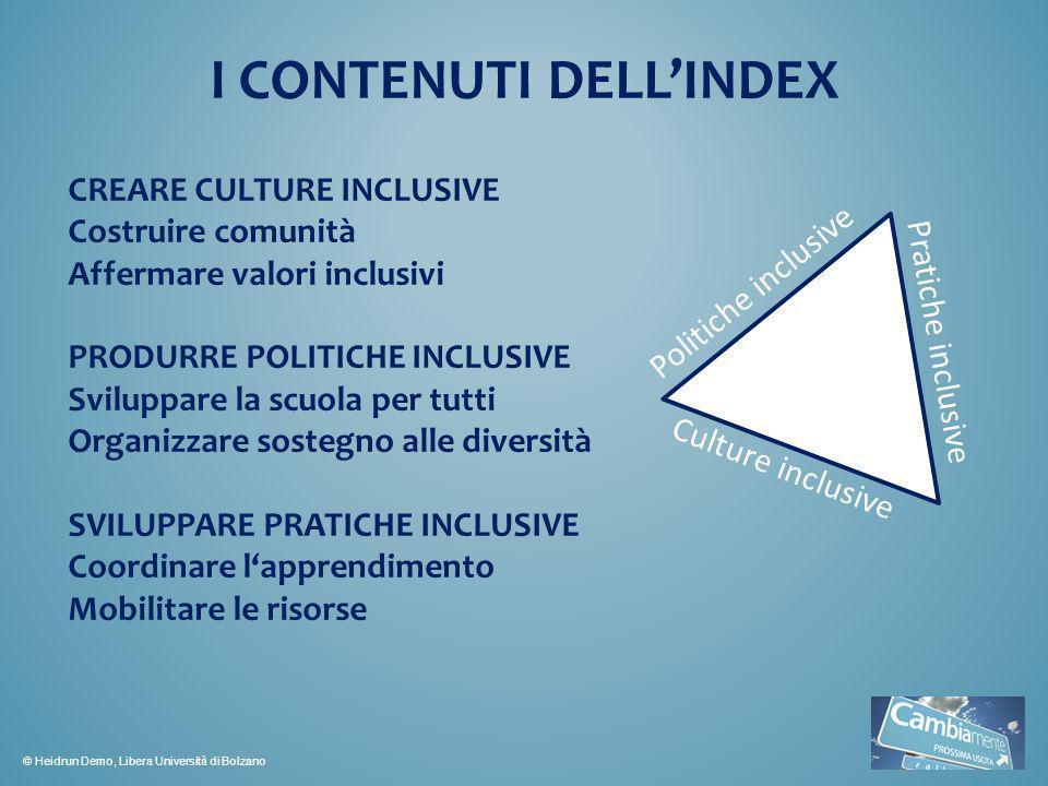 I CONTENUTI DELLINDEX Culture inclusive Pratiche inclusive Politiche inclusive CREARE CULTURE INCLUSIVE Costruire comunità Affermare valori inclusivi
