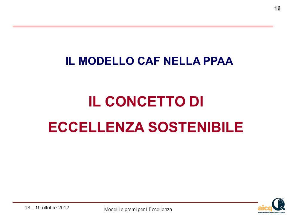 18 – 19 ottobre 2012 16 Modelli e premi per lEccellenza IL CONCETTO DI ECCELLENZA SOSTENIBILE IL MODELLO CAF NELLA PPAA