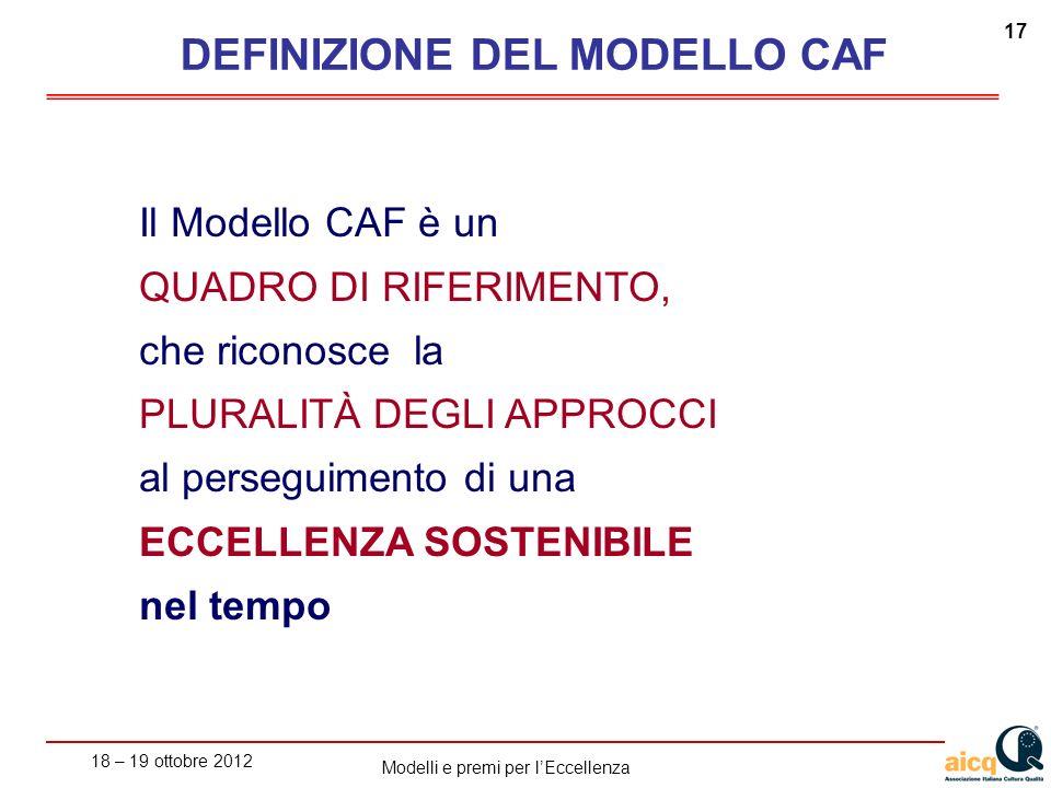 18 – 19 ottobre 2012 17 Modelli e premi per lEccellenza Il Modello CAF è un QUADRO DI RIFERIMENTO, che riconosce la PLURALITÀ DEGLI APPROCCI al perseguimento di una ECCELLENZA SOSTENIBILE nel tempo DEFINIZIONE DEL MODELLO CAF