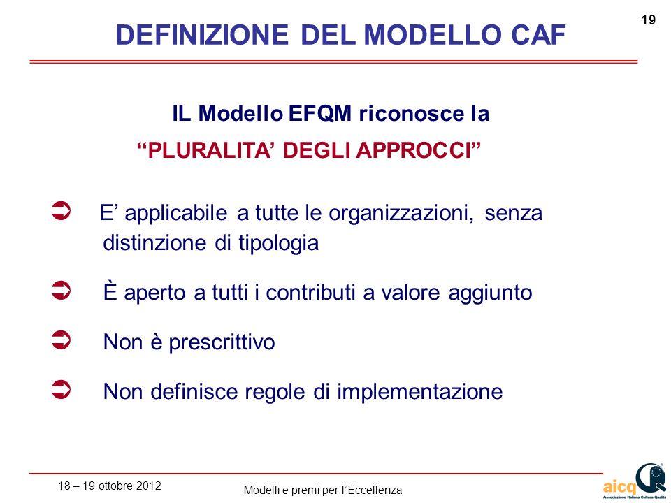 18 – 19 ottobre 2012 19 Modelli e premi per lEccellenza IL Modello EFQM riconosce la PLURALITA DEGLI APPROCCI E applicabile a tutte le organizzazioni,