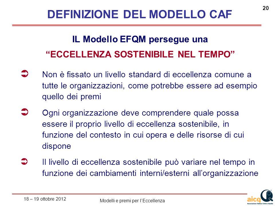 18 – 19 ottobre 2012 20 Modelli e premi per lEccellenza IL Modello EFQM persegue una ECCELLENZA SOSTENIBILE NEL TEMPO Non è fissato un livello standar