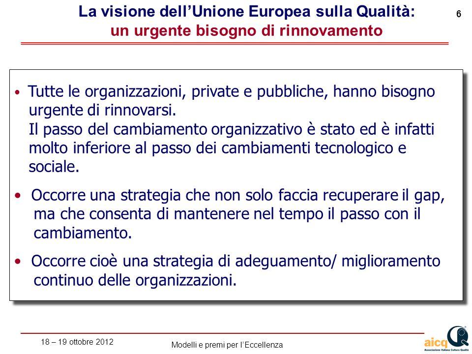 18 – 19 ottobre 2012 6 Modelli e premi per lEccellenza La visione dellUnione Europea sulla Qualità: un urgente bisogno di rinnovamento Tutte le organizzazioni, private e pubbliche, hanno bisogno urgente di rinnovarsi.