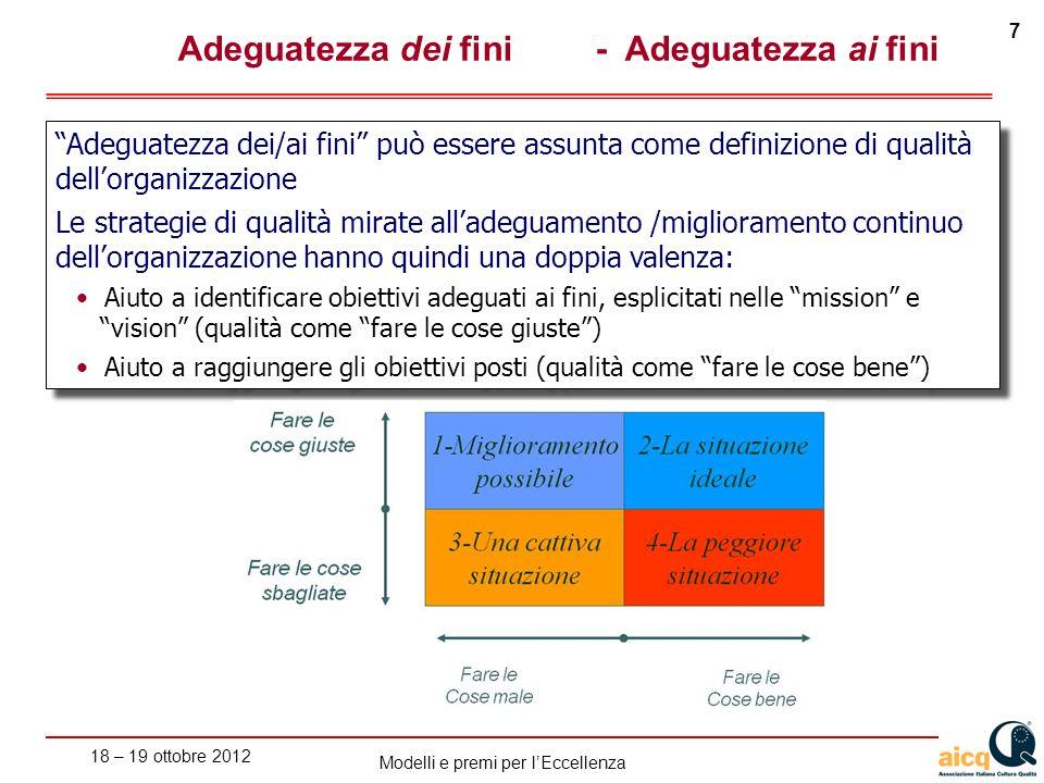 18 – 19 ottobre 2012 7 Modelli e premi per lEccellenza Adeguatezza dei fini- Adeguatezza ai fini Adeguatezza dei/ai fini può essere assunta come defin