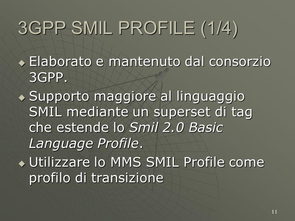 11 3GPP SMIL PROFILE (1/4) Elaborato e mantenuto dal consorzio 3GPP. Elaborato e mantenuto dal consorzio 3GPP. Supporto maggiore al linguaggio SMIL me