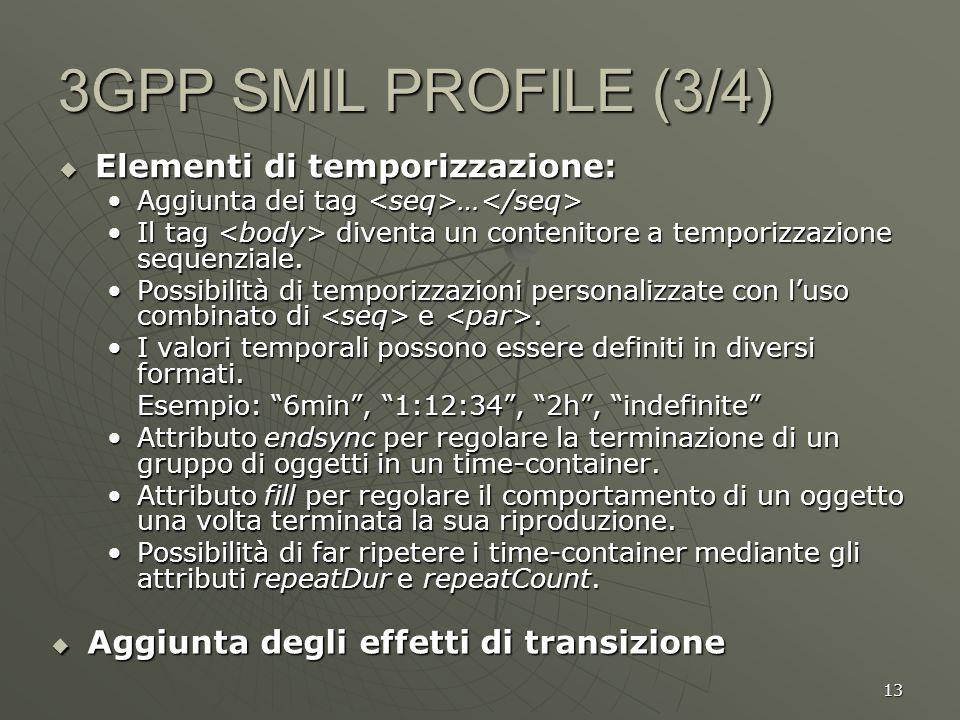 13 3GPP SMIL PROFILE (3/4) Elementi di temporizzazione: Elementi di temporizzazione: Aggiunta dei tag … Aggiunta dei tag … Il tag diventa un contenito