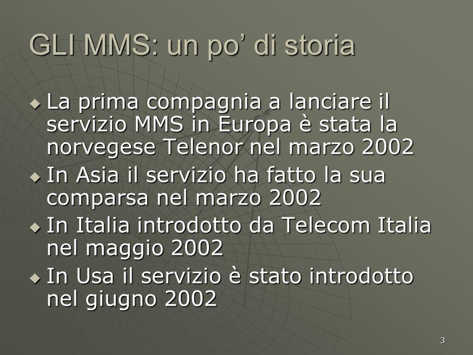 3 GLI MMS: un po di storia La prima compagnia a lanciare il servizio MMS in Europa è stata la norvegese Telenor nel marzo 2002 La prima compagnia a la