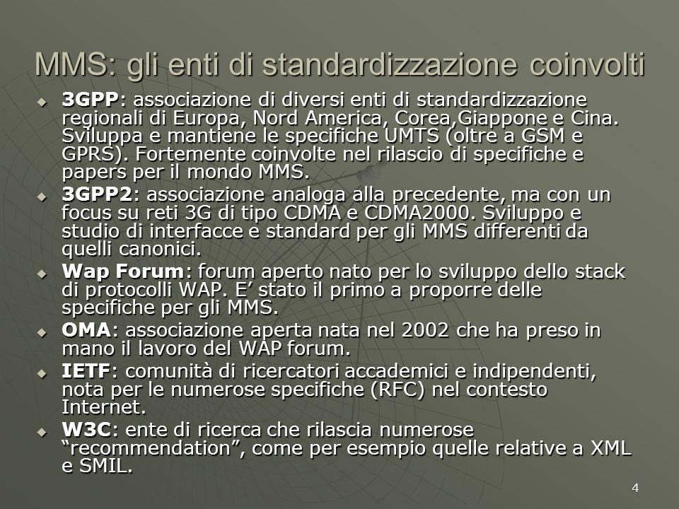 4 MMS: gli enti di standardizzazione coinvolti 3GPP: associazione di diversi enti di standardizzazione regionali di Europa, Nord America, Corea,Giappo