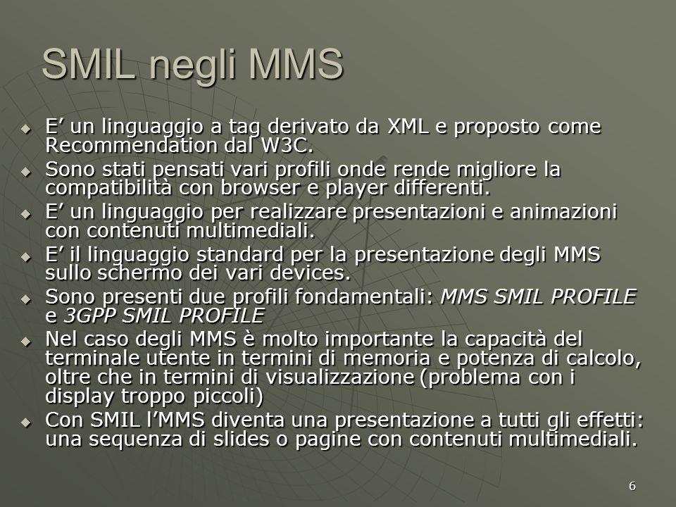 6 SMIL negli MMS E un linguaggio a tag derivato da XML e proposto come Recommendation dal W3C. E un linguaggio a tag derivato da XML e proposto come R
