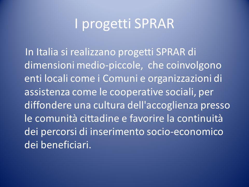 I progetti SPRAR In Italia si realizzano progetti SPRAR di dimensioni medio-piccole, che coinvolgono enti locali come i Comuni e organizzazioni di ass