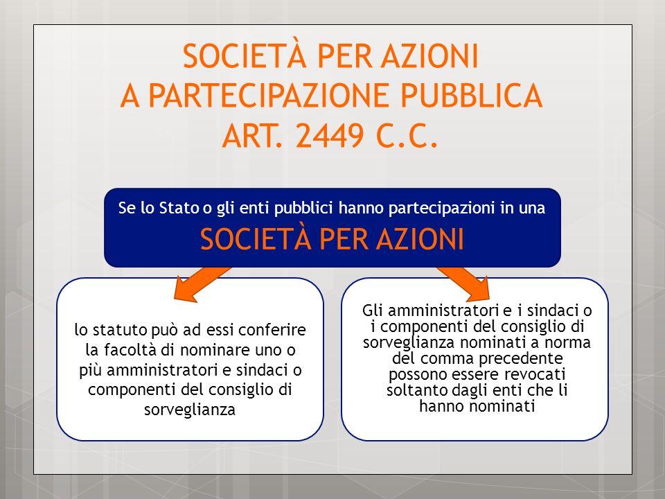 SOCIETÀ PER AZIONI A PARTECIPAZIONE PUBBLICA ART. 2449 C.C. lo statuto può ad essi conferire la facoltà di nominare uno o più amministratori e sindaci