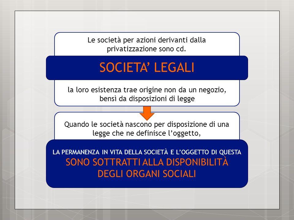 Quando le società nascono per disposizione di una legge che ne definisce loggetto, LA PERMANENZA IN VITA DELLA SOCIETÀ E LOGGETTO DI QUESTA SONO SOTTR