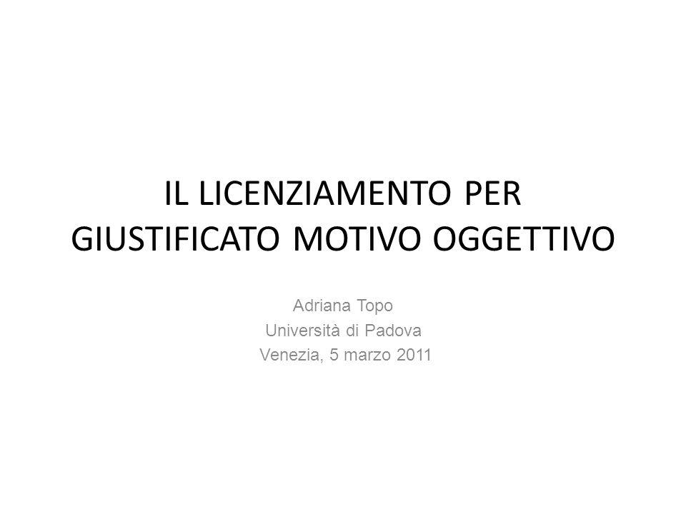 IL LICENZIAMENTO PER GIUSTIFICATO MOTIVO OGGETTIVO Adriana Topo Università di Padova Venezia, 5 marzo 2011