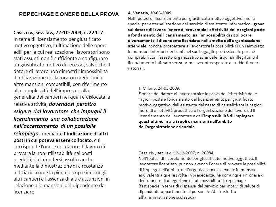 REPECHAGE E ONERE DELLA PROVA Cass. civ., sez. lav., 22-10-2009, n. 22417. In tema di licenziamento per giustificato motivo oggettivo, lultimazione de