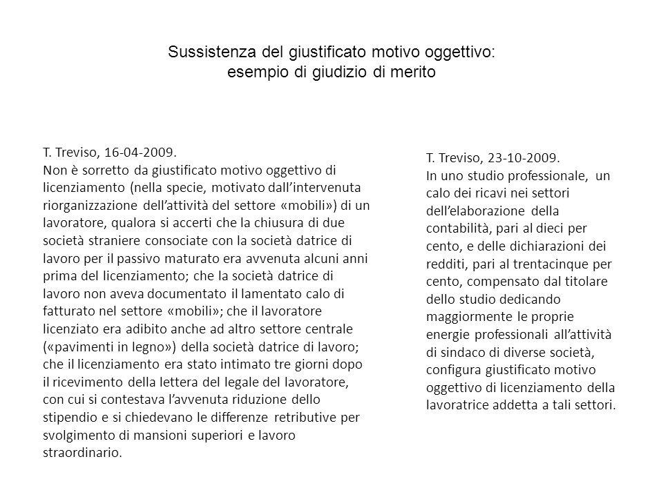 Sussistenza del giustificato motivo oggettivo: esempio di giudizio di merito T. Treviso, 16-04-2009. Non è sorretto da giustificato motivo oggettivo d