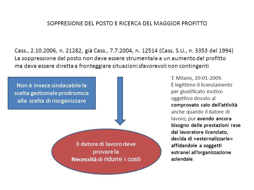 SOPPRESIONE DEL POSTO E RICERCA DEL MAGGIOR PROFITTO Cass., 2.10.2006, n. 21282, già Cass., 7.7.2004, n. 12514 (Cass. S.U., n. 3353 del 1994) La soppr