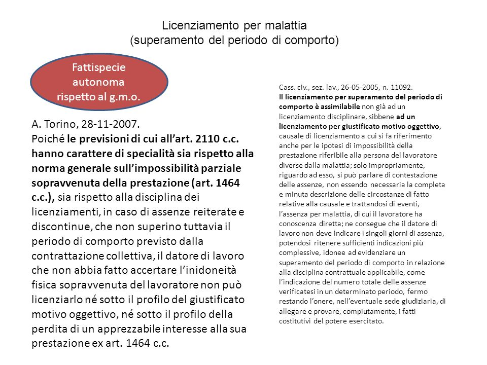 Licenziamento per malattia (superamento del periodo di comporto) A. Torino, 28-11-2007. Poiché le previsioni di cui allart. 2110 c.c. hanno carattere