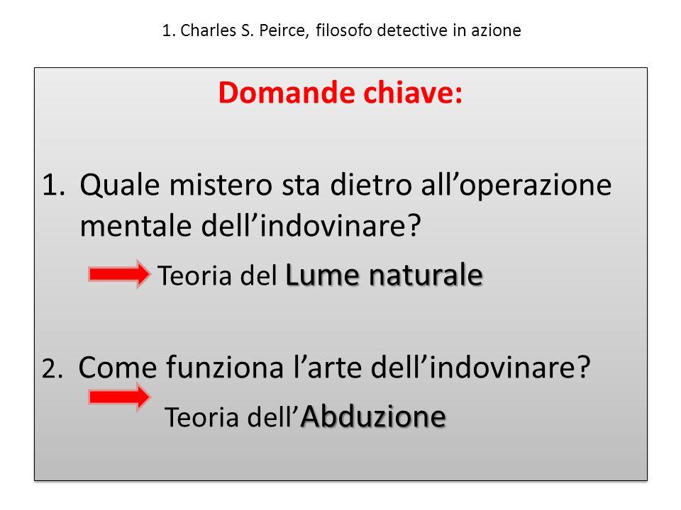 1. Charles S. Peirce, filosofo detective in azione Domande chiave: 1.Quale mistero sta dietro alloperazione mentale dellindovinare? Lume naturale Teor