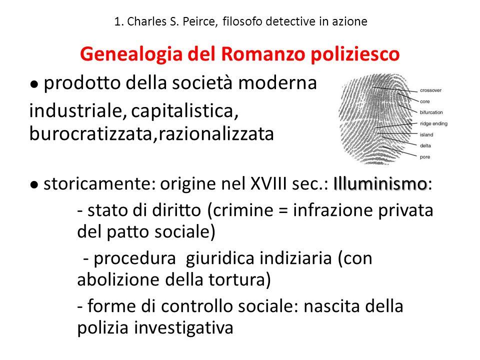 1. Charles S. Peirce, filosofo detective in azione Genealogia del Romanzo poliziesco prodotto della società moderna industriale, capitalistica, burocr