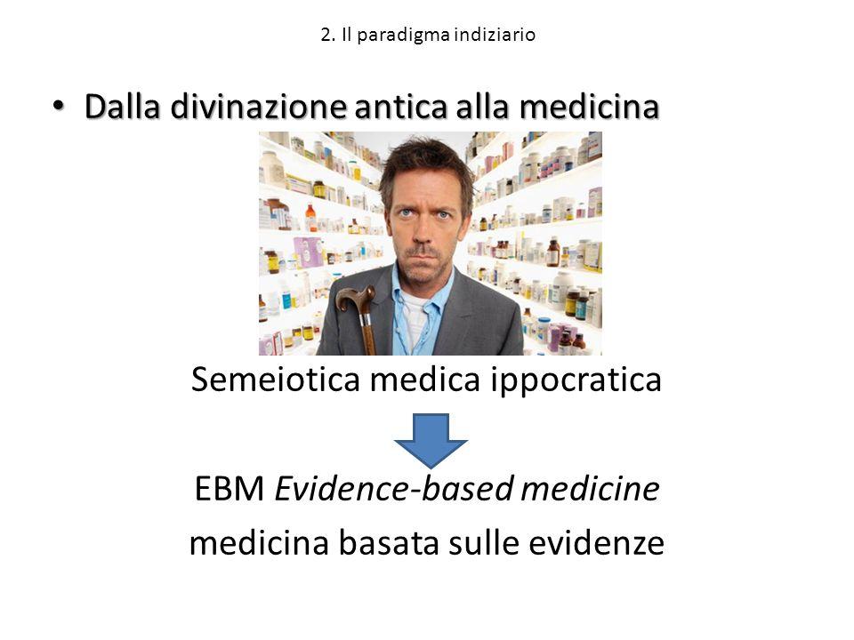 2. Il paradigma indiziario Dalla divinazione antica alla medicina Dalla divinazione antica alla medicina Semeiotica medica ippocratica EBM Evidence-ba