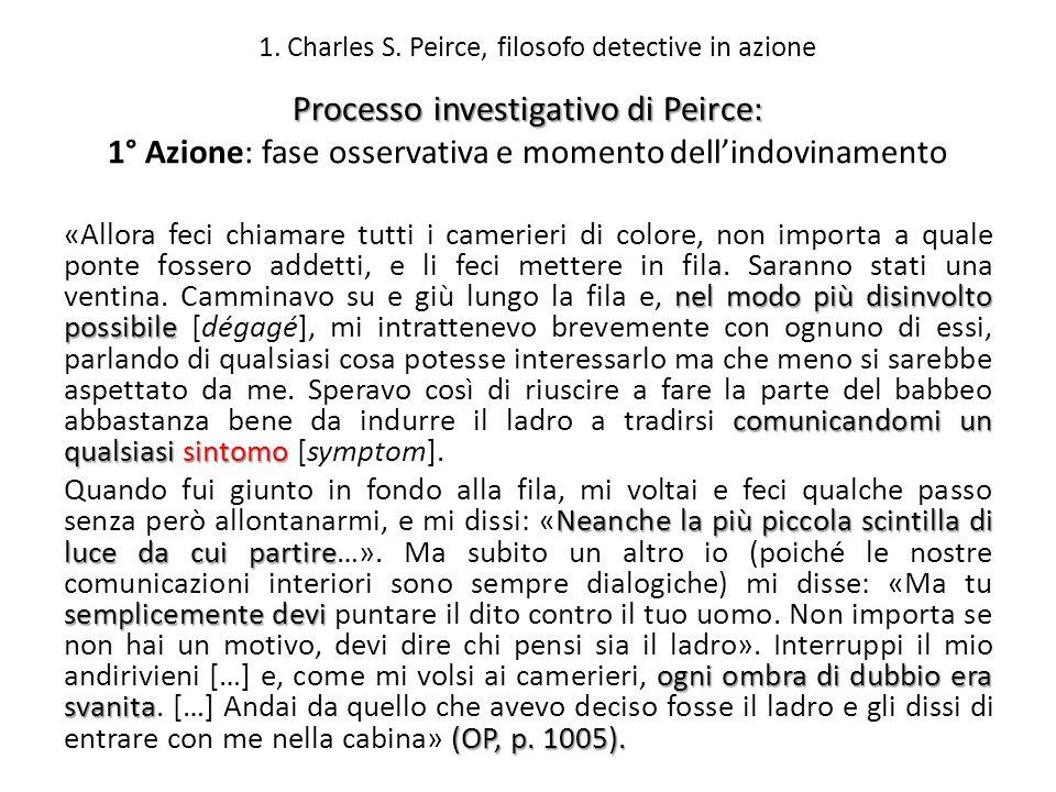 Processo investigativo di Peirce: 1° Azione: fase osservativa e momento dellindovinamento nel modo più disinvolto possibile comunicandomi un qualsiasi