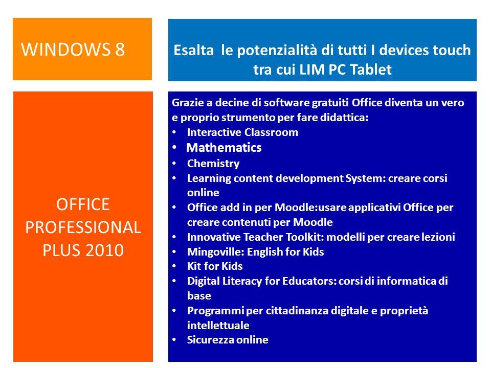 Esalta le potenzialità di tutti I devices touch tra cui LIM PC Tablet Grazie a decine di software gratuiti Office diventa un vero e proprio strumento