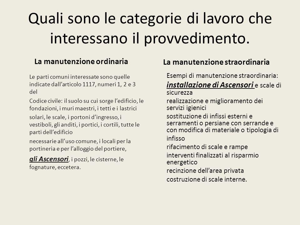 Quali sono le categorie di lavoro che interessano il provvedimento. La manutenzione ordinaria Le parti comuni interessate sono quelle indicate dallart