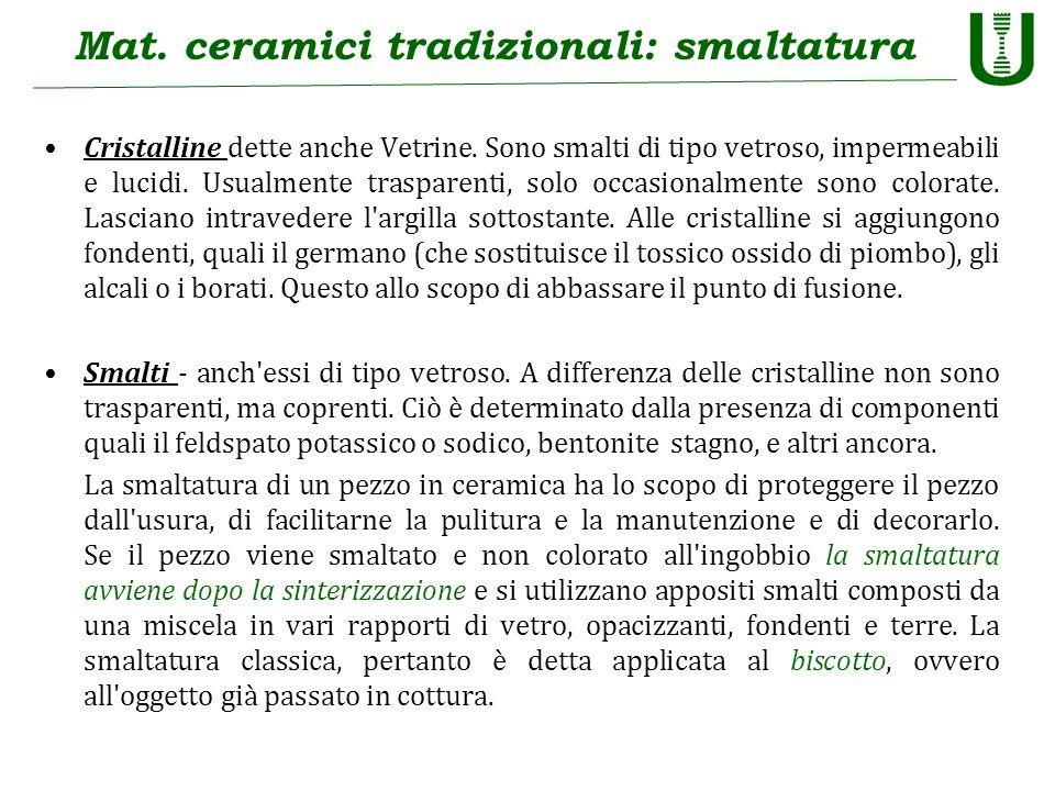 Mat. ceramici tradizionali: smaltatura Cristalline dette anche Vetrine. Sono smalti di tipo vetroso, impermeabili e lucidi. Usualmente trasparenti, so