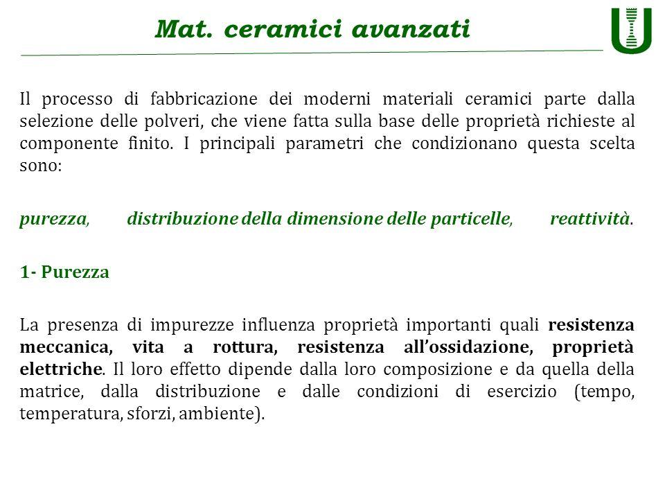 Mat. ceramici avanzati Il processo di fabbricazione dei moderni materiali ceramici parte dalla selezione delle polveri, che viene fatta sulla base del