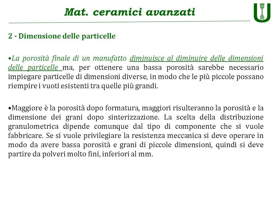 Mat. ceramici avanzati 2 - Dimensione delle particelle La porosità finale di un manufatto diminuisce al diminuire delle dimensioni delle particelle ma