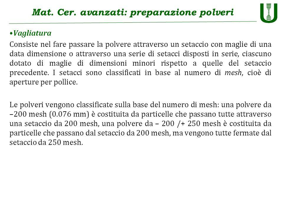 Mat. Cer. avanzati: preparazione polveri Vagliatura Consiste nel fare passare la polvere attraverso un setaccio con maglie di una data dimensione o at