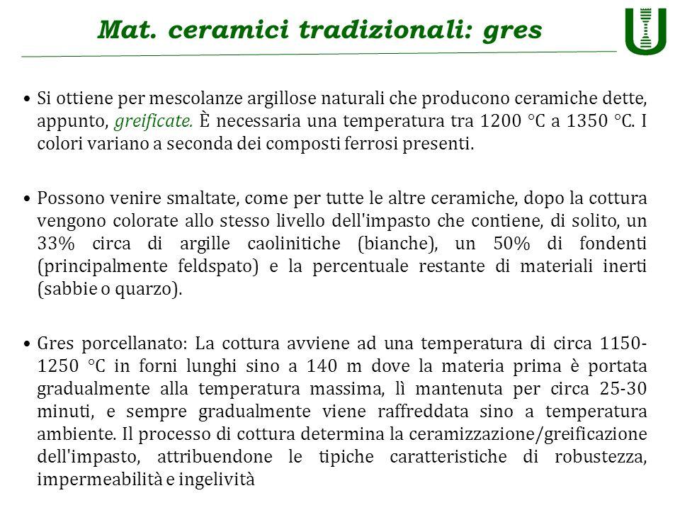 Mat. ceramici tradizionali: gres Si ottiene per mescolanze argillose naturali che producono ceramiche dette, appunto, greificate. È necessaria una tem